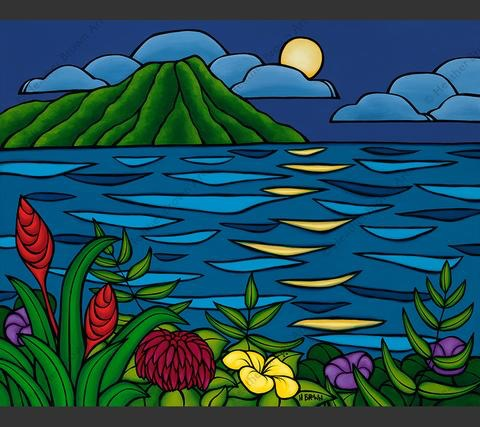 Heather Brown FULL MOON OVER DIAMOND HEAD, 24X30 GALLERY WRAP GICLEE ON CANVAS, ARTIST PROOF #2/10 SO20705