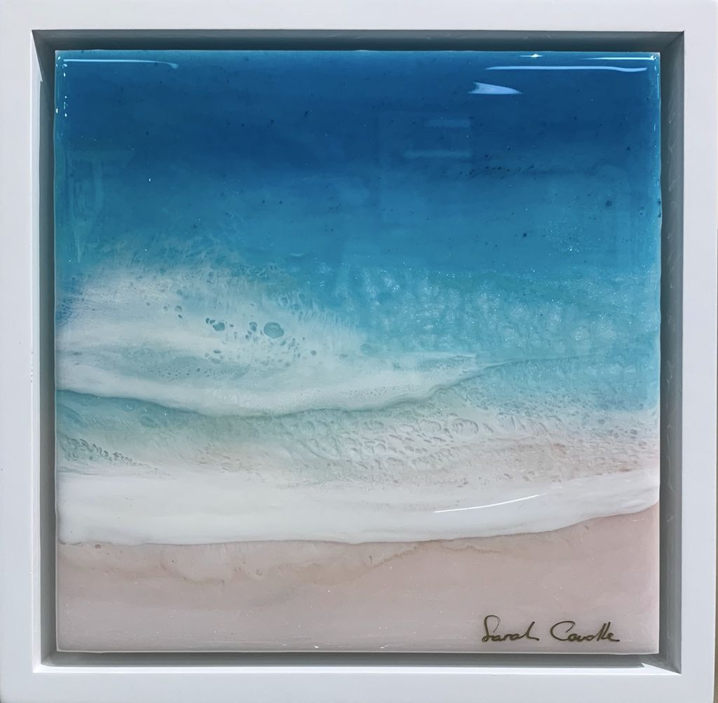 "Sarah Caudle ORIGINAL RESIN PAINTING- SWEET SEAS 2, 8""X8"" FRAMED"