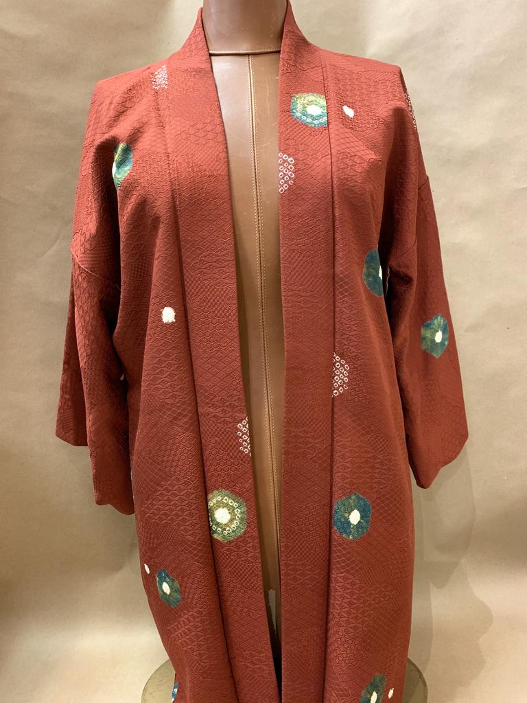 Elizabeth Kent Maroon two color shibori kimono jacket