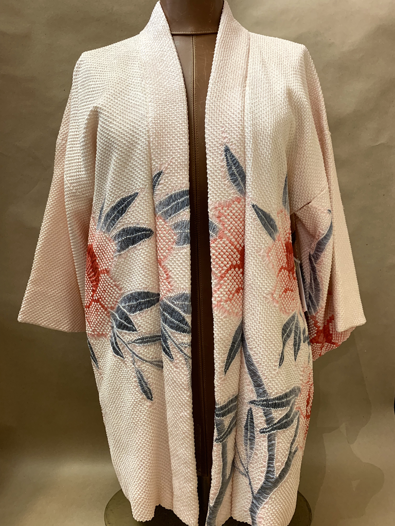 Elizabeth Kent Beautiful pink shibori jacket with shibori flowers