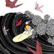 "Kris Goto ORIGINAL: ""CRANES"",14"" X 14"" Pen and Acrylic on Gessoed Wood Canvas"