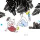 "Kris Goto ORIGINAL: ""POST DIVES"",10"" X 10"" Pen and Acrylic on Gessoed Wood Canvas"