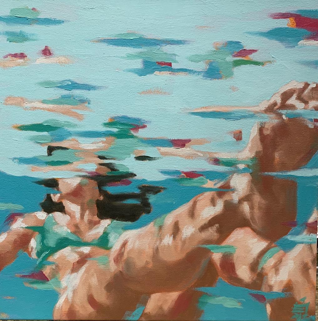 "Camille Izumi Art BREATHE-ORIGINAL OIL PAINTING ON CANVAS, 18""X18"""