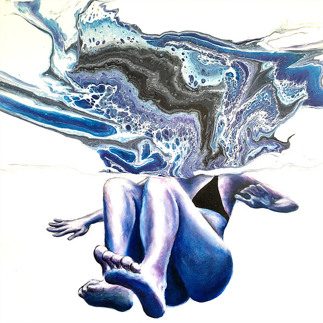 "Kelly Keane ORIGINAL ACRYLIC (TOP) AND OIL (BOTTOM) PAINTING:  TAKING THE PLUNGE, 18""X18"""