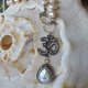 "MiNei Designs 26""  Blush Freshwater Pearls with Pave Teardrop Coin Pearl with Swarovski Crystals and Ohm Pendant (can be worn either way)"
