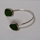 Rose Wong BRACELET: STERLING SILVER SEAGLASS BEZELED CUFF