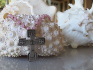 "MiNei Designs 18"" Pink Glass Beads with Sterling Artisan Cross"