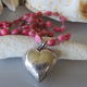 """MiNei Designs 32"""" Coral and Sterling Beads with Sterling Heart (can be doubled)"""
