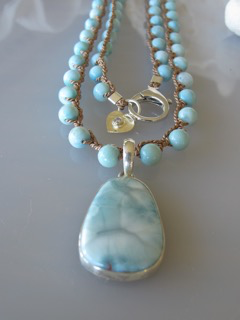 "MiNei Designs 36"" Larimar Beads with Sterling Larimar Pendant (can be doubled)"