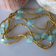 """MiNei Designs 80"""" Bali Gold and African Glass Beads"""