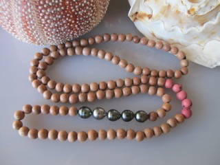 """MiNei Designs 34"""" Rosewood and Pink Acai Beads with 5 Tahitian Pearls"""