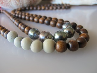 """MiNei Designs 34"""" Palmwood and Blue Acai Beads with 5 Tahitian Pearls"""