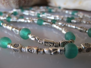 """MiNei Designs 44"""" Silver Bali Beads with Blue African Glass"""
