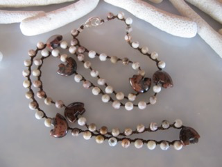 """MiNei Designs #2139 28"""" Matte Laguna Agate Beads with Polished Agate Bear Fetishes"""