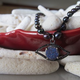 """MiNei Designs #2135 16"""" Grey Freshwater Rice Pearls with Blue Druzy and Black Spinel Evil Eye"""