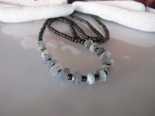 """MiNei Designs #2115 22"""" Brown Bone Beads with Faceted Laboradite"""