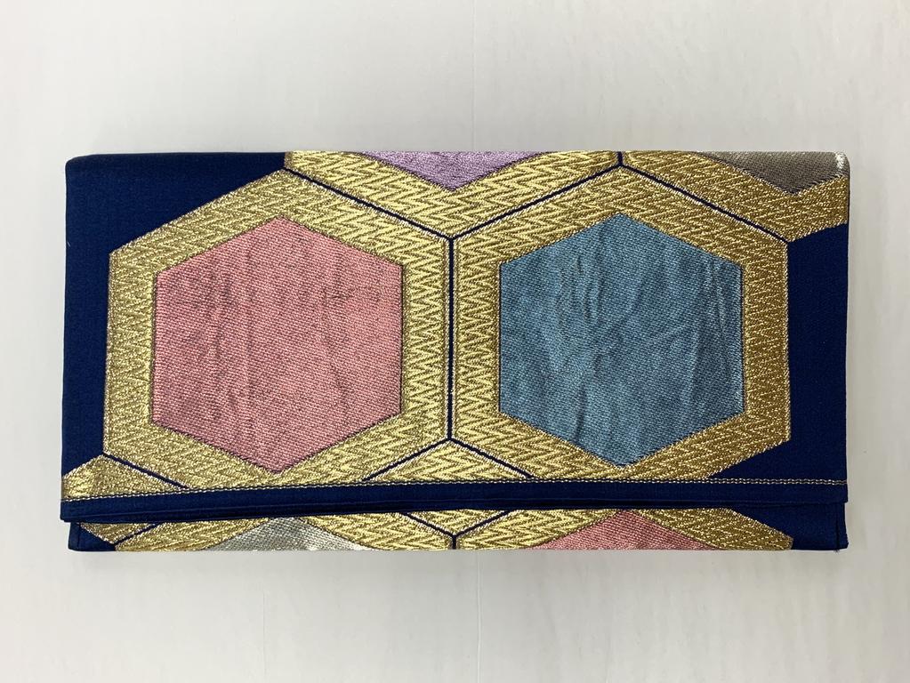 Leina Aonuma PINK/BLUE/LAVENDER/GOLD STRAIGHT FLAP: OBI CLUTCH