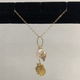 "Simply Sparkle Designs 5800 17"" Gold Fill Necklace with Vermeil Sunrise Shell, Rose Quartz Briolette, Freshwater Pearl, Pink Shell, Moonstone Rondelle."
