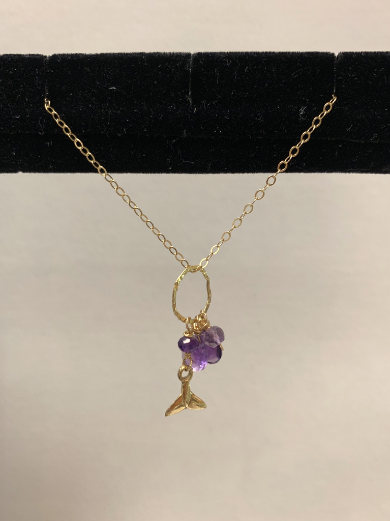 """Simply Sparkle Designs 6194 17"""" Gold Fill Necklace with Pink Amethyst Rondelle, Pink Amethyst Briolette, Amethyst Briolette, Amethyst Rondelle, Vermeil Whale Tail"""