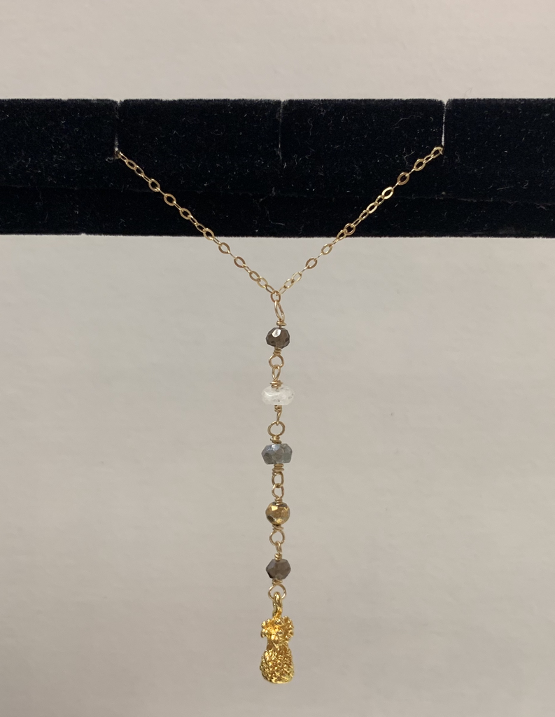 """Simply Sparkle Designs 6688 17"""" Gold Fill Necklace with Vermeil Pineapple, 2 Smokey Quartz Rondelle, Gold Pyrite Rondelle, Mystic Labradorite Rondelle, Moonstone"""