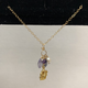 """Simply Sparkle Designs 6764 17"""" Gold Fill Necklace with Vermeil Octopus, Iolite Drop, Mystic Topaz Briolette, Freshwater Pearl, Amethyst Rondelle"""