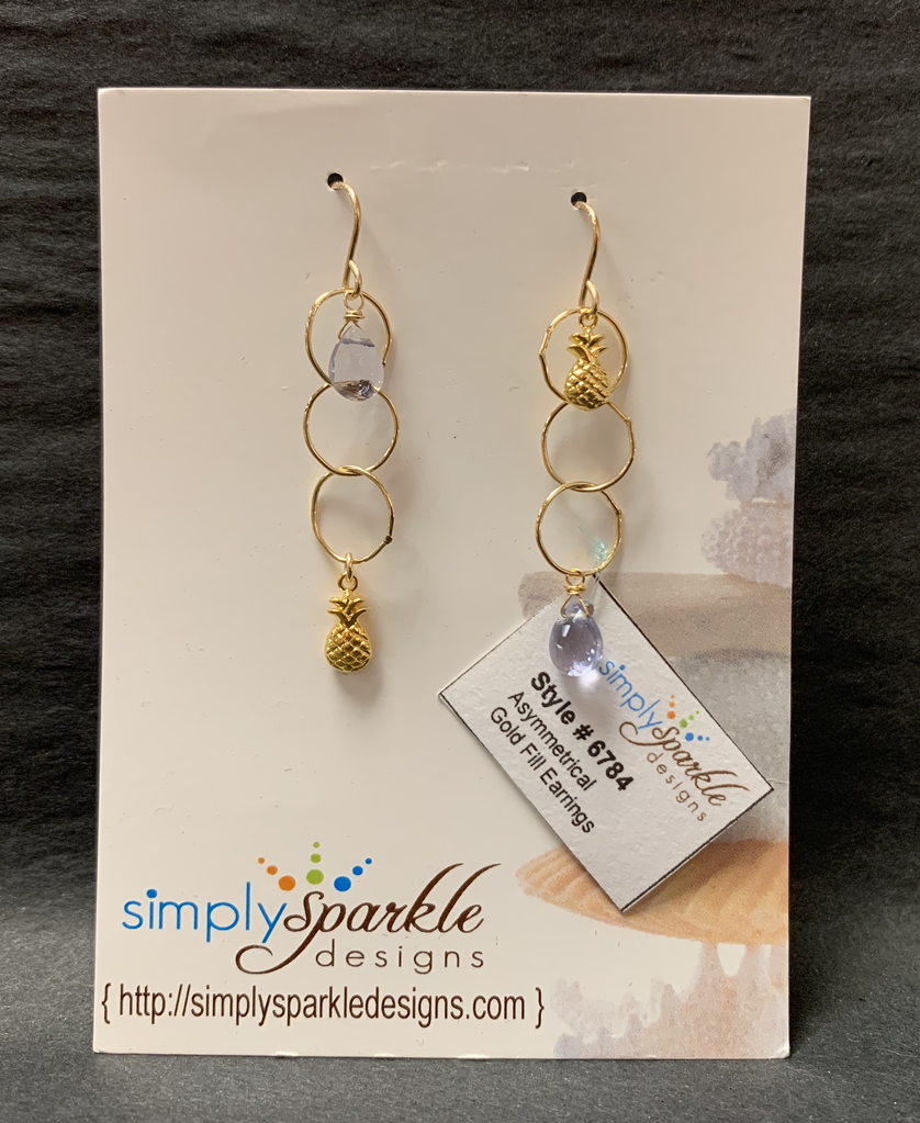 Simply Sparkle Designs 6784 Gold Fill Earrings with Vermeil Pineapple, Iolite Hydroquartz Briolette
