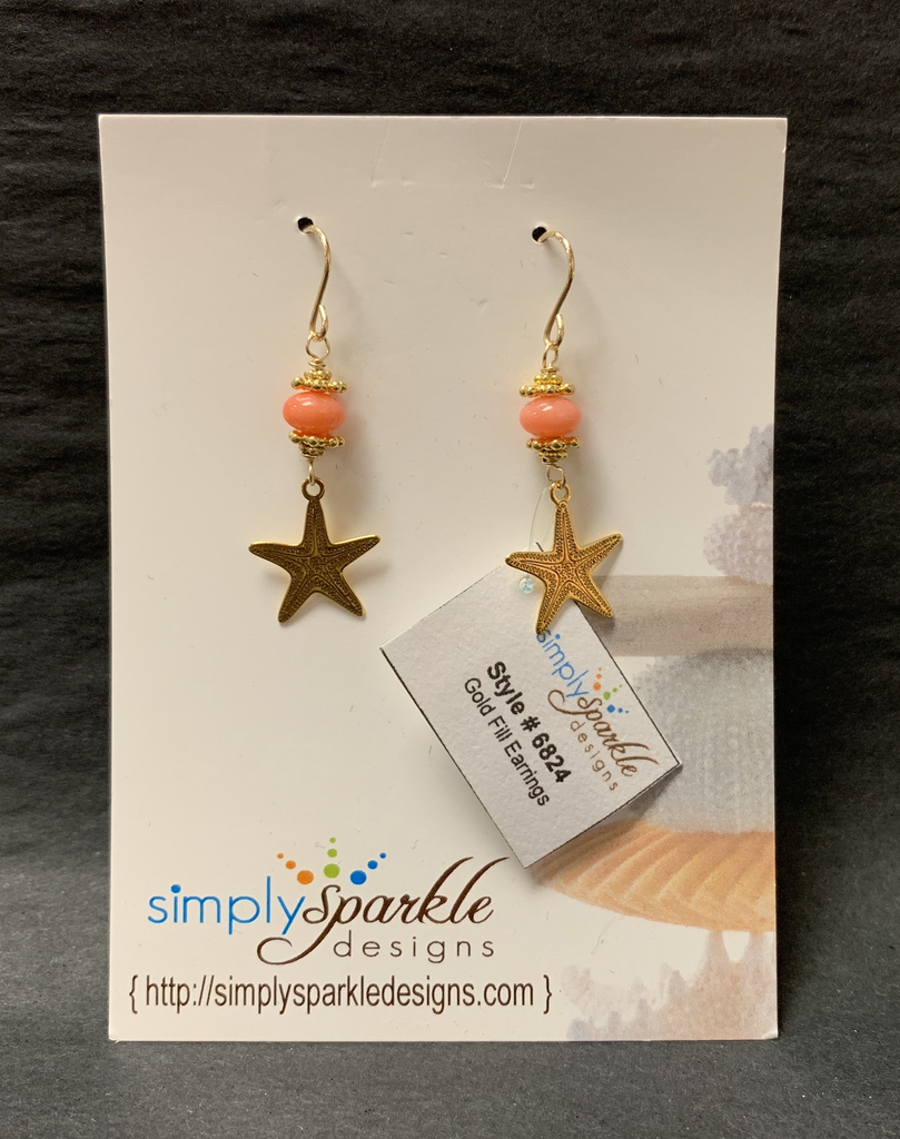 Simply Sparkle Designs 6824 Gold Fill Earrings with Vermeil Starfish, Dyed Coral Rondelle