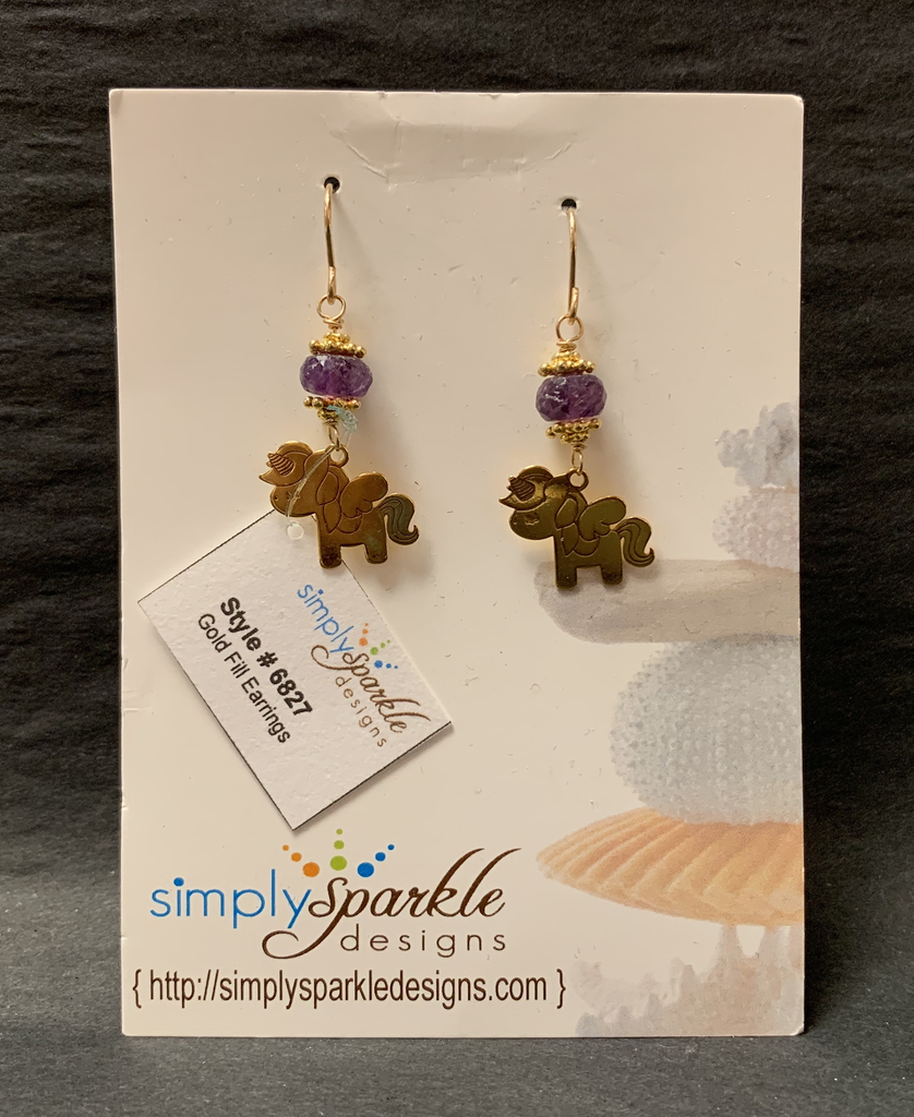 Simply Sparkle Designs 6827 Gold Fill Earrings with Vermeil Unicorn, Flourite Rondelle
