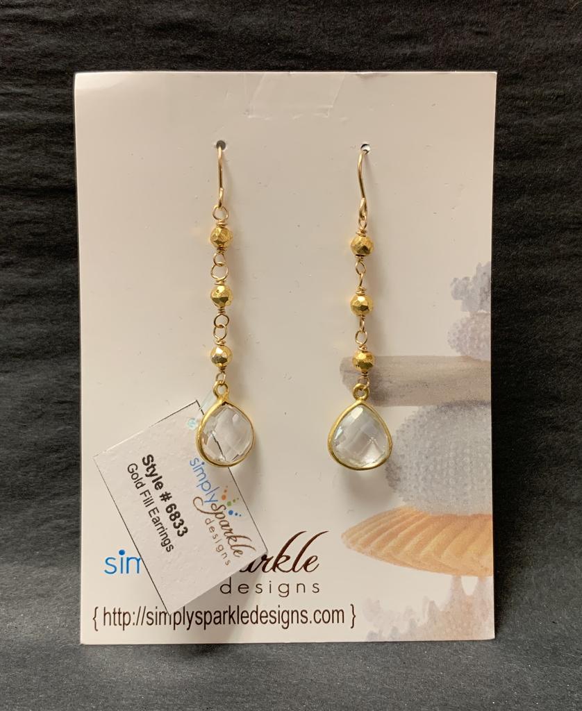 Simply Sparkle Designs 6833 Gold Fill Earrings with Gold Pyrite Rondelle, Vermeil Bezel Crystal Quartz Briolette