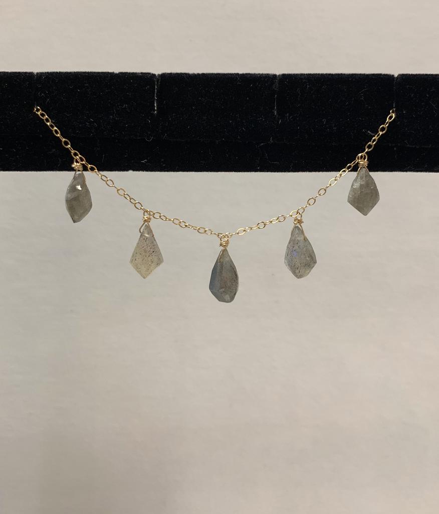 "Simply Sparkle Designs 6847 18"" Gold Fill Necklace with 5 Labradorite Tilak"