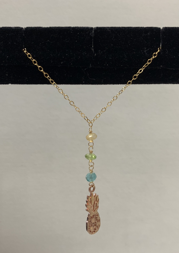 "Simply Sparkle Designs 6865 17"" Gold Fill Necklace with Rose Gold Vermeil Pineapple, Apatite Rondelle, Peridot Rondelle, Citrine Rondelle"