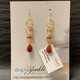 Simply Sparkle Designs 6923 Gold Fill Earrings with Citrine Rondelle, Carnelian Rondelle, Dark Carnelian Rondelle, Fire Opal Briolette