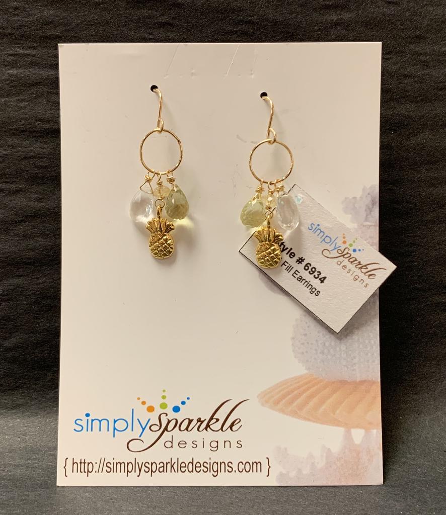 Simply Sparkle Designs 6934 Gold Fill Earrings with Vermeil Pineapple, Crystal Quartz Briolette, Lemon Quartz Drop, Citrine Rondelle