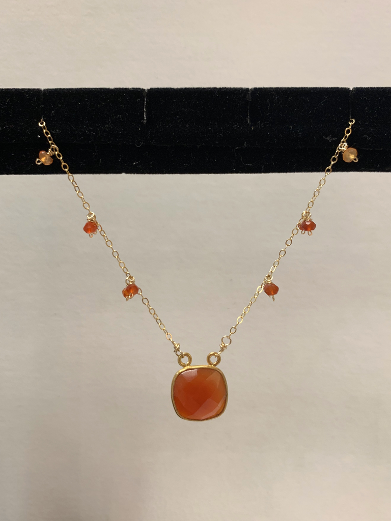 "Simply Sparkle Designs 6955 18"" Gold Fill Necklace with Carnelian Vermeil Bezel Square, Dark Carnelian Rondelle, Carnelian Rondelle, Citrine Rondelle"