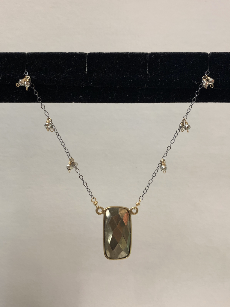 """Simply Sparkle Designs 6965 17"""" Oxidized Sterling Silver Necklace with Gold Fill Components, Pyrite Vermeil Bezel Rectangle, Silver Pyrite Rondelle"""