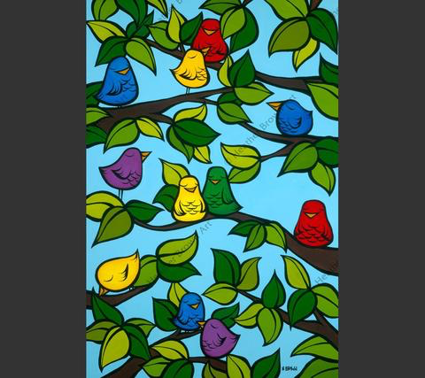 Heather Brown BIRD TREE, 16X24 GALLERY WRAP GICLEE ON CANVAS,  LIMITED EDITION #38/250, SO21652