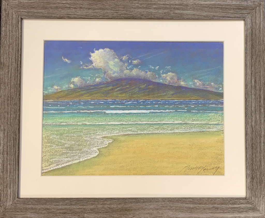 Russell Lowrey DISTANT ISLAND ORIGINAL OIL PASTEL 16X20 (LANAI FROM MAUI)