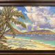 "Russell Lowrey ORIGINAL-KAHALA BEACH-DISTANT KOKO HEAD, ACRYLIC MIXED MEDIA, FRAMED 11""X14:"