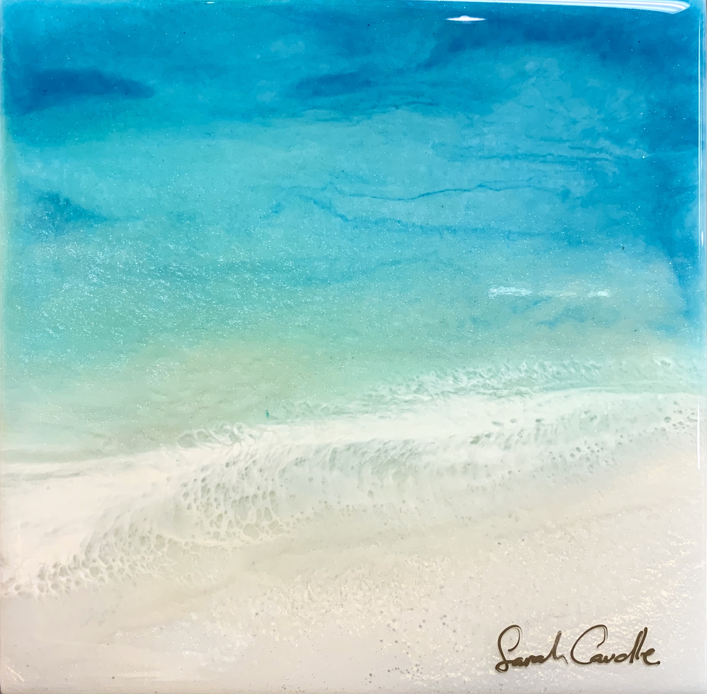 "Sarah Caudle ORIGINAL RESIN PAINTING - CALMING WATERS 2, 6""X6"""