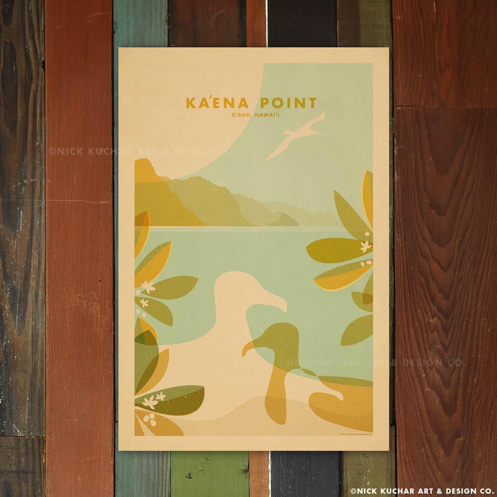 Nick Kuchar 12X18 RETRO HAWAII TRAVEL PRINT:  KAENA POINT, OAHU