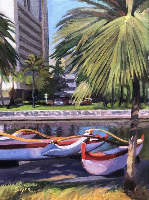 "Lynne Boyer ALA WAI PARKED & READY, 12""X16"" ORIGINAL OIL PAINTING W/OMEGA FRAME"