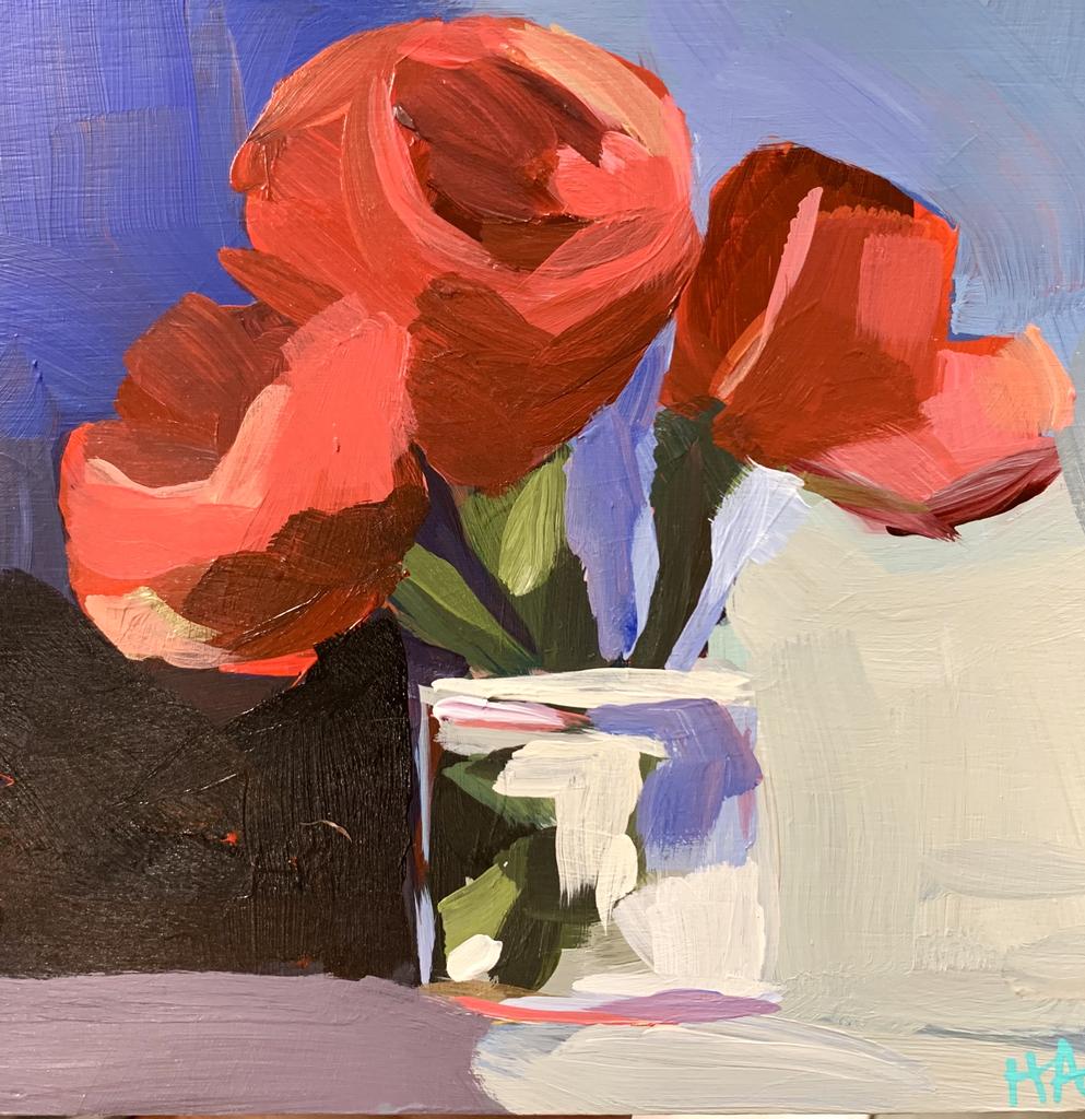 """Almeda Art ORIGINAL ACRYLIC PAINTING: REDS NO. 329, 6""""X6"""""""