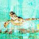 John Baran GREEN SEA TURTLE 1.0, 9X12 PRINT ON WOOD