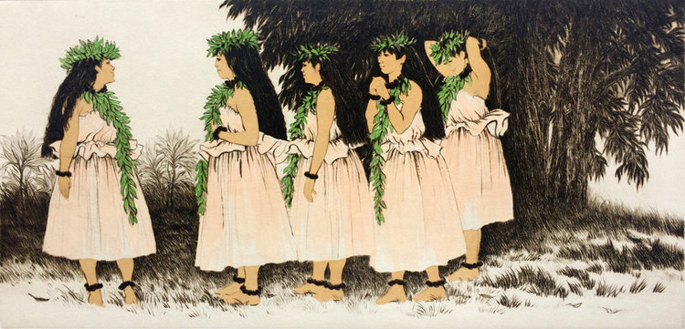Carol Collette Limited Edition, Drypoint Engraving wirh Color- Hula Sisters, 15x24