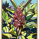 """PINK GINGER-FRAMED ORIGINAL ACRYLIC PAINTING ON WOOD PANEL,18""""X24"""" (WITH FRAME: 20""""X26"""")"""