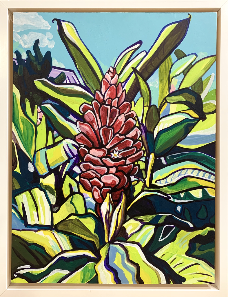 "Miriam Zora Engel PINK GINGER-FRAMED ORIGINAL ACRYLIC PAINTING ON WOOD PANEL,18""X24"" (WITH FRAME: 20""X26"")"