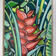 "RED HELICONIA-FRAMED ORIGINAL ACRYLIC PAINTING ON WOOD PANEL, 11""X14"" (WITH FRAME: 13.25""X16.25"")"