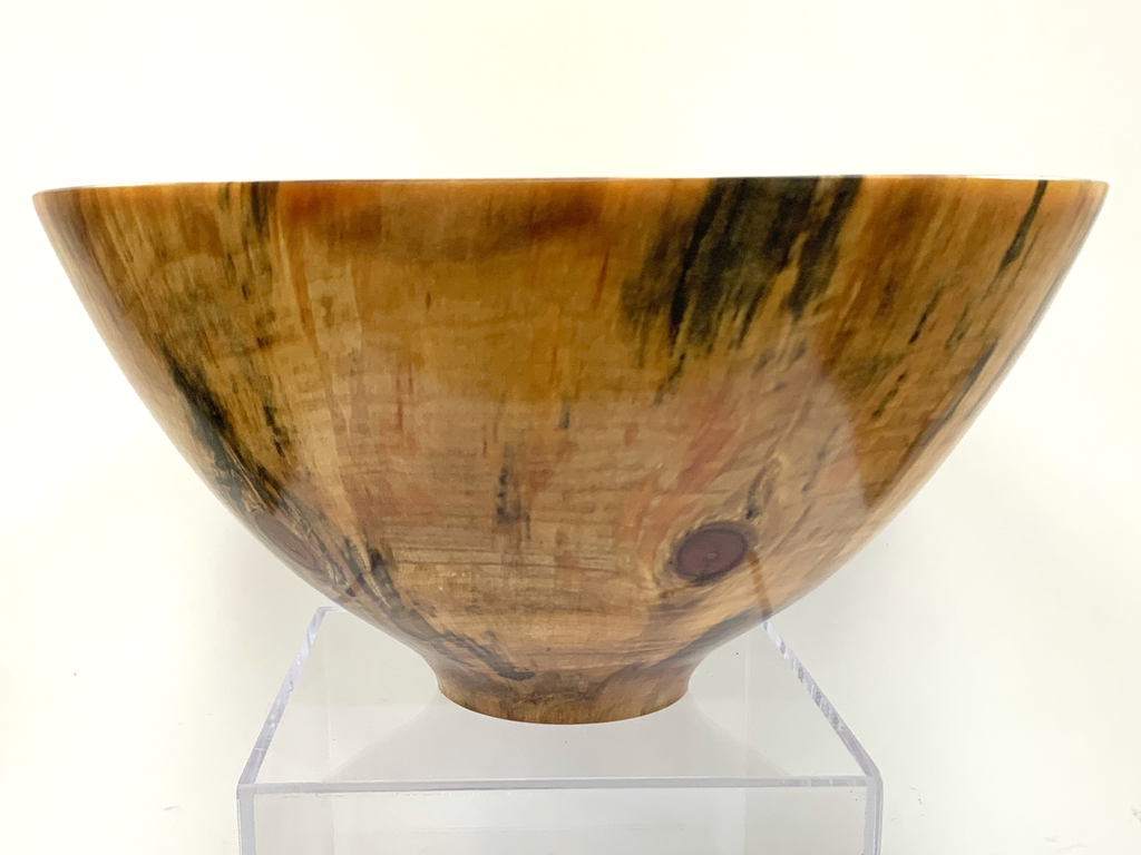 "Akamai Woods #1822 NORFOLK PINE HANDTURNED BOWL, 13.75""X7""H, SPALTED WITH KNOTS"