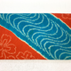 Leina Aonuma BLUE RED SHIBORI STRAIGHT FLAP OBI CLUTCH