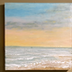 "Robin Appasamy ORIGINAL ENCAUSTIC TRIPTYCH PAINTING, SUNSET SEASHORE, 12""X12""X12"""